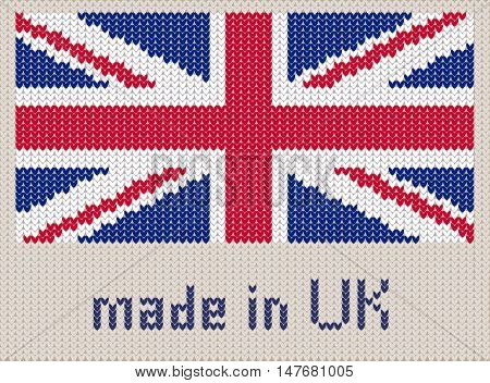 Union Jack knitted pattern UK flag. Modern vector ornament wool knitted texture banner of United Kingdom. Flat knitted standard design element for sites. Hand made flag.