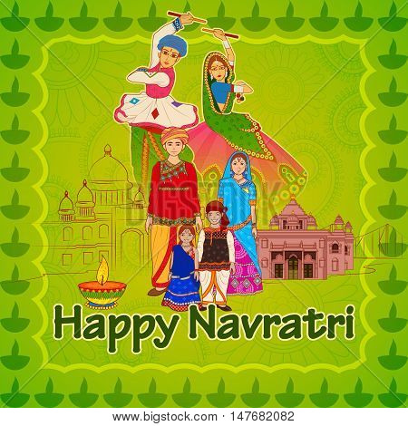 Vector design of Gujrati people wishing Navratri Dussehra festival