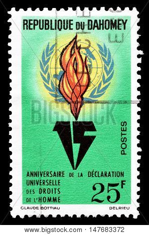 DAHOMEY -  CIRCA 1963 : Cancelled postage stamp printed by Dahomey, that shows  United Nations emblem and flame.