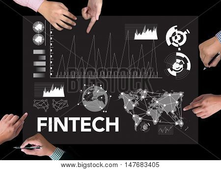 FINTECH Investment Financial Internet Technology Warm tone man use computer
