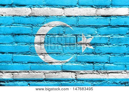 Flag Of Iraqi Turkmen Front, Painted On Brick Wall