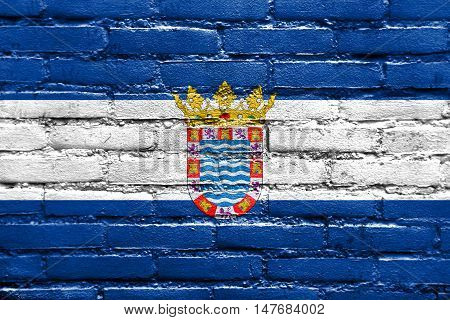 Flag Of Jerez, Andalusia, Spain, Painted On Brick Wall