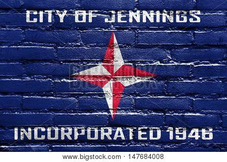 Flag Of Jennings, Missouri, Usa, Painted On Brick Wall