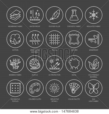 Vector line icons of fabric feature garments property symbols. Elements - cotton wool waterproof uv protection. Linear wear labels textile industry pictograms with editable stroke for clothes.