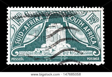 SOUTH AFRICA - CIRCA 1949 : Cancelled postage stamp printed by South Africa, that shows Monument in Pretoria.