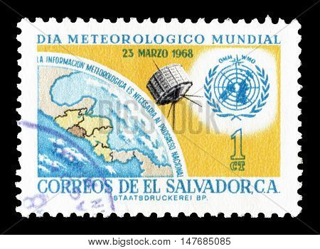 EL SALVADOR - CIRCA 1968 : Cancelled postage stamp printed by El Salvador, that shows United Nations emblem, Earth and satellite.