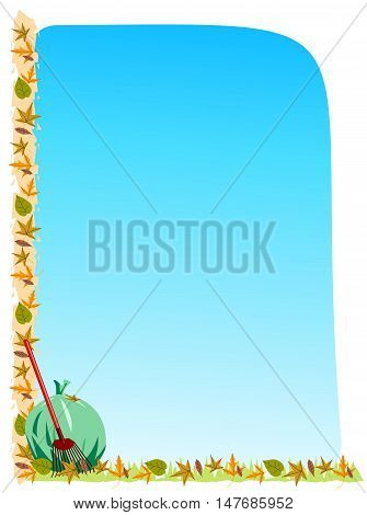 Autumn border and background with leaves, a rake, and bag