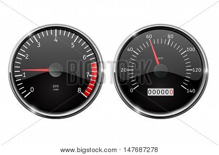 Speedometer tachometer. Vector illustration isolated on white background