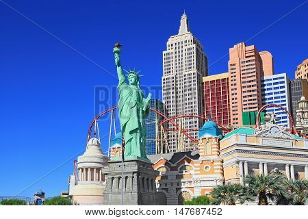 Las Vegas, NV, USA - October 30, 2015: Famous New York New York casino-hotel on October 30, 2015 in Las Vegas . The  hotel recreates the famous New York skyline with a model of the Statue of Liberty.