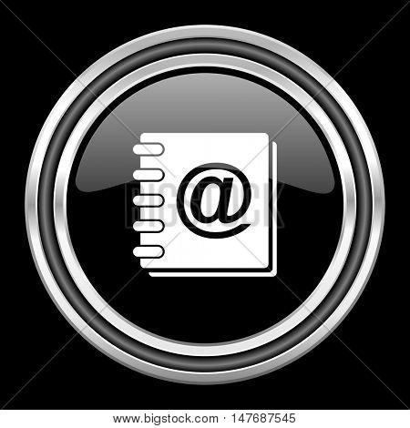 address book silver chrome metallic round web icon on black background
