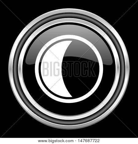 moon silver chrome metallic round web icon on black background