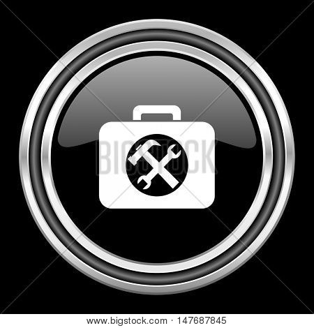 toolkit silver chrome metallic round web icon on black background