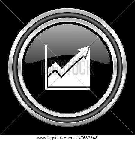 histogram silver chrome metallic round web icon on black background