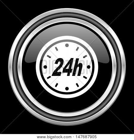24h silver chrome metallic round web icon on black background