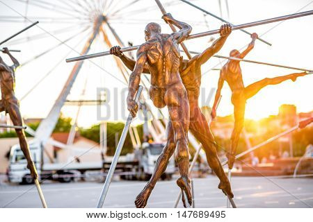 Antibes, France - June 14, 2016: Modern art sculptures on the Pre-des-Pecheurs esplanade in the old town. The area was renovated on 2014 and is popular for events.