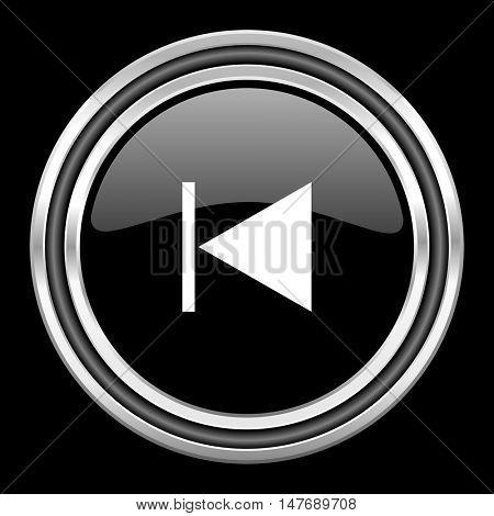 prev silver chrome metallic round web icon on black background