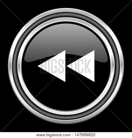 rewind silver chrome metallic round web icon on black background