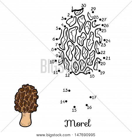 Numbers game for children, dot to dot education game. Edible mushrooms, morel