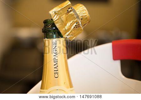 Celebration Theme A Bottle Of Champagne After Splashing