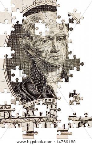 Puzzle Jefferson on a $2 bill