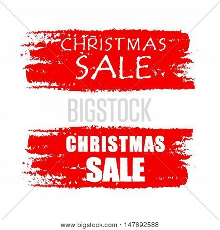 christmas sale - text on red drawn banners, business holiday concept, vector