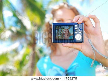 Shooting self portrait at tropical resort