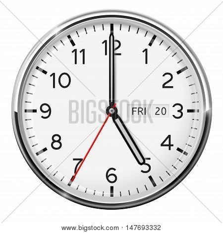 Clock. Classic style. Five o'clock. Vector illustration isolated on white background