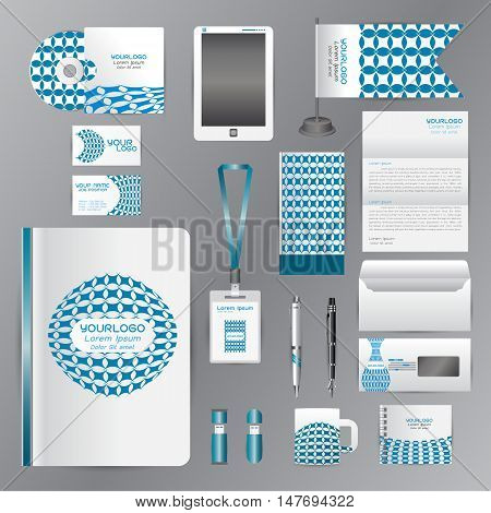 White corporate identity template with blue origami elements. Vector company style for brandbook guideline and Pens mugs CDs books business cards letterhead flag Card Portfolio employees Tablet flash drive