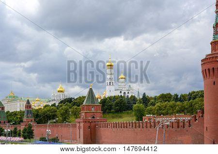 Kremlin walls overlooking its internal gardens churches and buildings