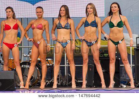 RUSSIA, ZELENOGRADSK - SEPTEMBER 03, 2016: Open festival bikini Miss Fitness in the resort town of Zelenogradsk (Cranz). As part of the Citi Day celebration.