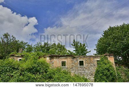 A derelict farming building in the historic village of Jelovice in Primorje-Gorski Kotar County in northern Croatia.