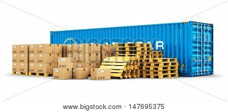 3D illustration of the blue metal 40 ft cargo container and stacks of cardboard boxes on wooden shipping pallets isolated on white background