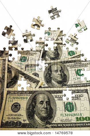 Puzzle A lot 100 dollar bills background