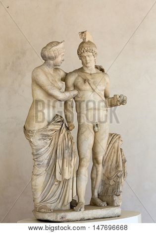ROME, ITALY - JUNE 12, 2015: Group of Mars and Venus in baths of Diocletian (Thermae Diocletiani) in Rome. Italy