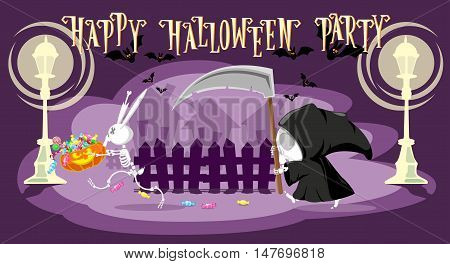 Funny little death with a large scythe is chasing a rabbit skeleton stole her pumpkin with candy on the street. Cartoon style. Concept design for banners posters or cards. Vector illustration