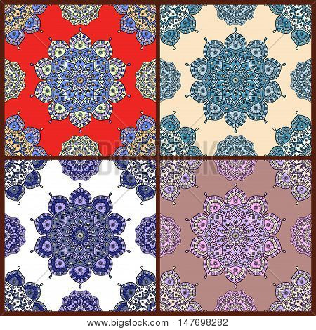 Set of four seamless vector prints of ornamental pattern. Floral tapestry ornaments with motifs of traditional Oriental decorative arts.