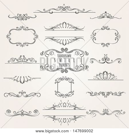 Vintage decorative swirl borders frames and dividers collection. Hand drawn vector design elements.