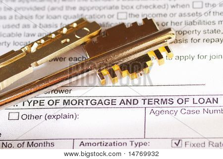 Mortgage application & keys. Shallow depth of field.