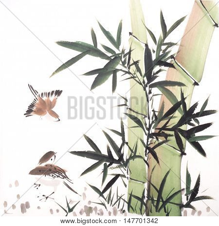 Traditional chinese painting Bamboo and birds