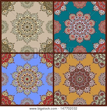 Seamless oriental style floral pattern in four color versions. Decorative print for ethnic tapestry, wall hanging, throw, bedspread, mural decor.