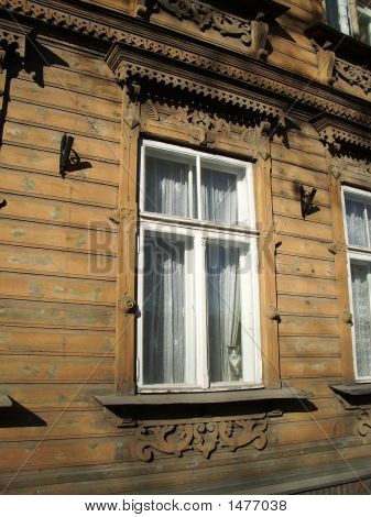 old carved wooden window frame in Tartu Estonia poster