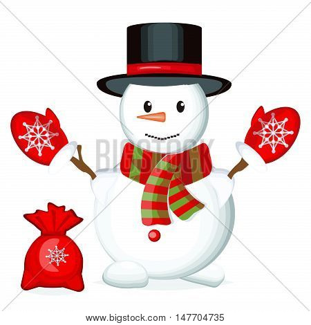 Snowman vector illustration frozen character man on white background. Happy cute white snowman christmas hat. Snow holiday cold celebration snowman december cartoon symbol.