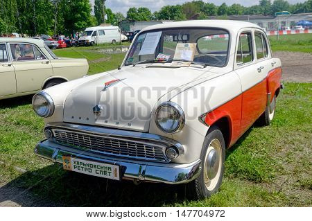 Kharkiv Ukraine - May 22 2016: Soviet retro car Moskvich 407 manufactured in 1962 exhibited at the festival of vintage cars Kharkiv Retro Rally - 2016 in Kharkiv Ukraine on May 22 2016