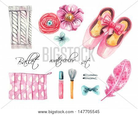 Ballet set. Pointe shoes, knitted gaiters, flowers, feather, hair clips, bows, cosmetic, lipstick, brush. Watercolor illustration on white background, moсkup