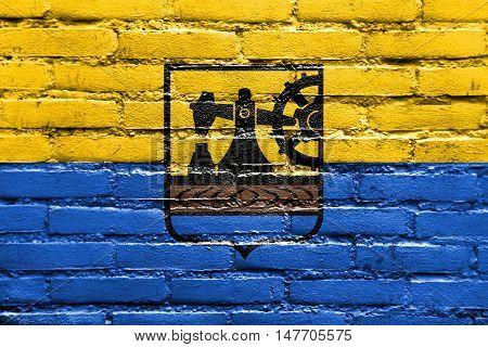 Flag Of Katowice, Poland, Painted On Brick Wall