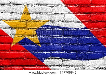 Flag Of Lafayette, Indiana, Usa, Painted On Brick Wall
