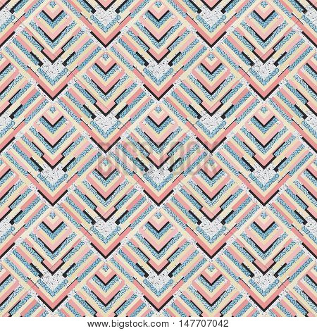 Seamless background. Retro art. Memphis wallpaper. Avant-garde backdrop. Vintage design. Bauhaus illustration. Postmodernism graphic. Hipster pattern. Futuristic ornament. Geometry print. Vector.