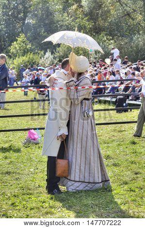 BORODINO RUSSIA - September 09.2009: Participants of reconstruction of the Borodino battle on the field. Free access to public presentation the reconstruction of the Battle of Borodino field in 1812 year. Kiss