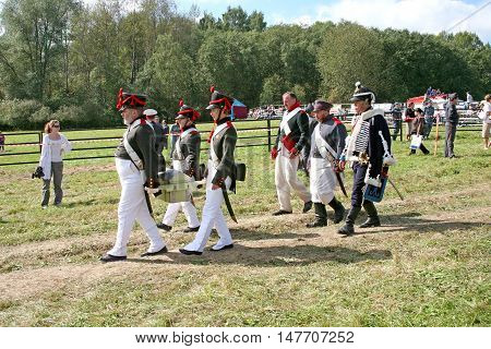 BORODINO RUSSIA - September 09.2009: Participants of reconstruction of the Borodino battle on the field. Free access to public presentation the reconstruction of the Battle of Borodino field in 1812 year