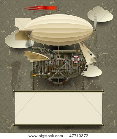 Vintage Steam punk template with a complex fantastic flying ship. Web page design in retro and grunge style. 3D Illustration. Contains the Clipping Path